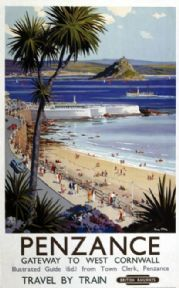 Penzance, West Cornwall, British Railways Vintage Travel Poster Print
