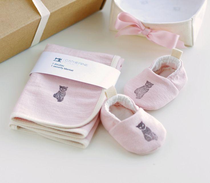 Organic Baby Girl Gift Basket   Pink Baby Booties + Security Blanket