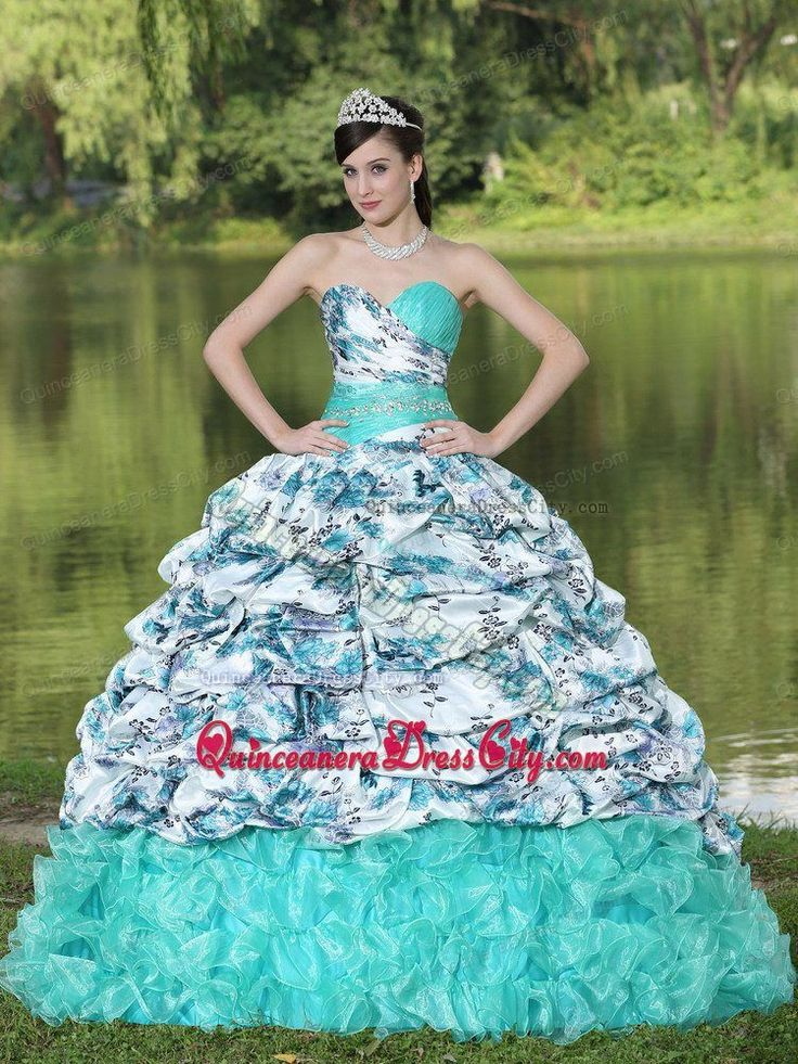 Sweetheart Brush Train Pick Ups Printing Quinceanera Gown - http://m.quinceaneradresscity.com