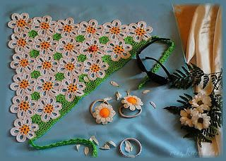 Tina's handicraft : crochet bandana with daisies