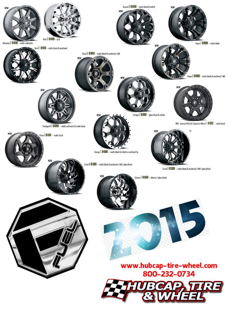 New 2015 Fuel wheels and rims for your truck, Jeep, or SUV.