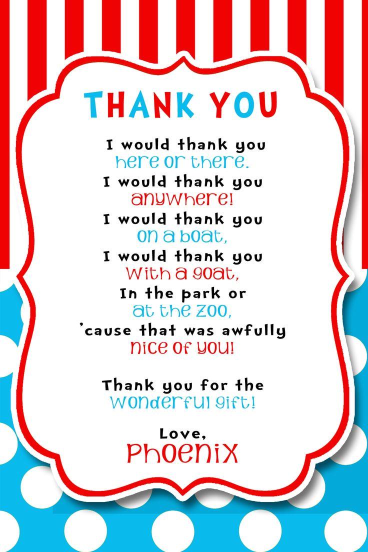 Dr Seuss Party THANK YOU!