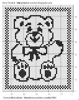 Free Filet Crochet Charts and Patterns: Filet Crochet Bear - Chart A