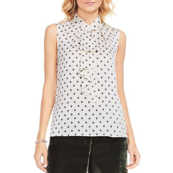 Vince Camuto Heirloom Diamond Print Blouse (4.780 RUB) ❤ liked on Polyvore featuring tops, blouses, pearl ivory, ivory top, tie blouse, pearl blouse, vince camuto tops and pleat neck top