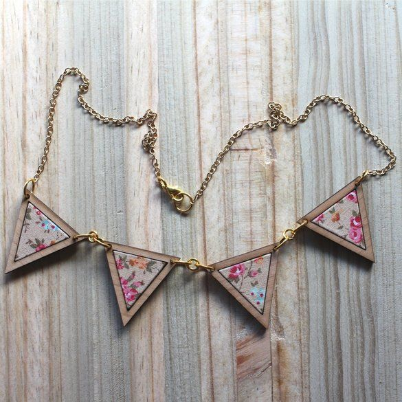 Kosbaar | Bunting Necklace  Timber & fabric inlay |  Peach background with pink and light blue floral pattern | Handmade in Cape Town, South Africa