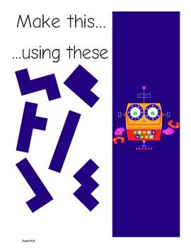 Pentomino Puzzles for Kindergarten to 2nd Grade: Geometry & Problem Solving. 22 different pentomino puzzles for grades Kindergarten through 2nd grade. Four levels of challenge and the cutest robots you'll ever see!