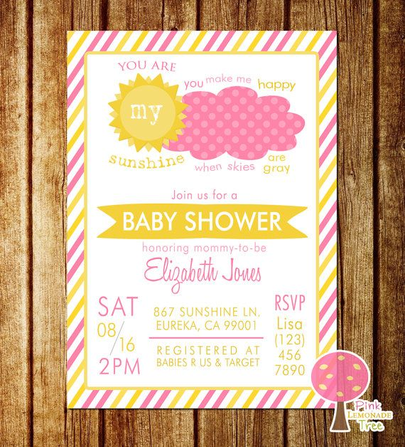 You Are My Sunshine Baby Shower Invitation, Pink And Yellow, Baby Girl