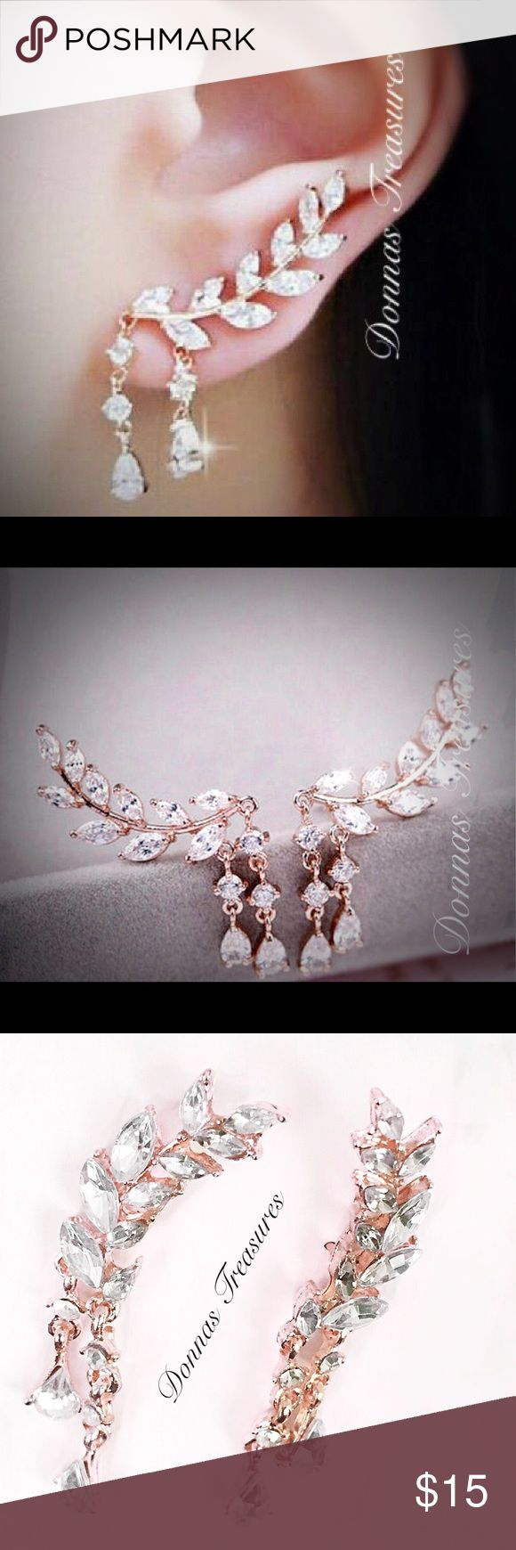 """🎉Rose Gold & Crystal Leaf Earrings These beauties measure 1 1/4"""" long, 1/4"""" wide & have a 1/4"""" dangle. The leaves are crystal & the setting is nickel free Rose Gold alloy.  #0849/1 Jewelry Earrings"""