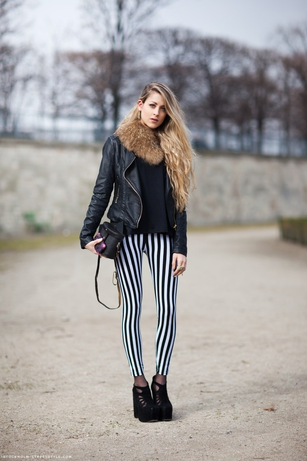 stripes: Fur Coats, Leatherjacket, Stripes Pants, Fashion, Street Style, Pencil Skirts, Leather Jackets, Fur Collars, Black Stripes