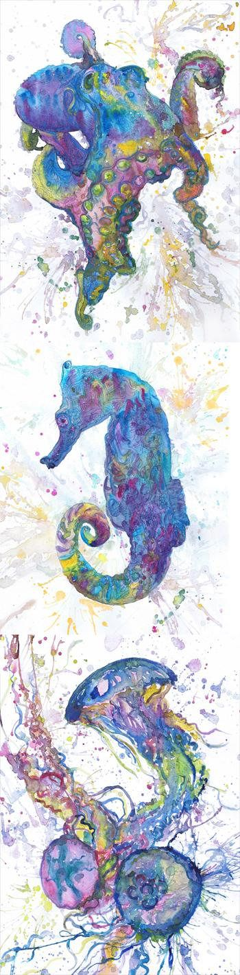 Under the sea Art Animal Watercolor Painting Wall Ocean Artwork Sea animals Print Bathroom Decor Underwater Poster Set of 3 Nautical Nursery  Size paper: 21 cm x 29,7 cm, 8 1/4 x 11 5/8, A4.(with white borders) - 50.00 $  fit in frames found in big shops 8x10(20cmx25cm) - leaving extra for matting - US  8x12(20cmx30cm) - leaving extra for matting - EU   29,7cm × 42cm, 11 5/8 × 16 1/2, A3(with white borders) - 81.00 $  The paper used for my watercolors paintings is watercol...