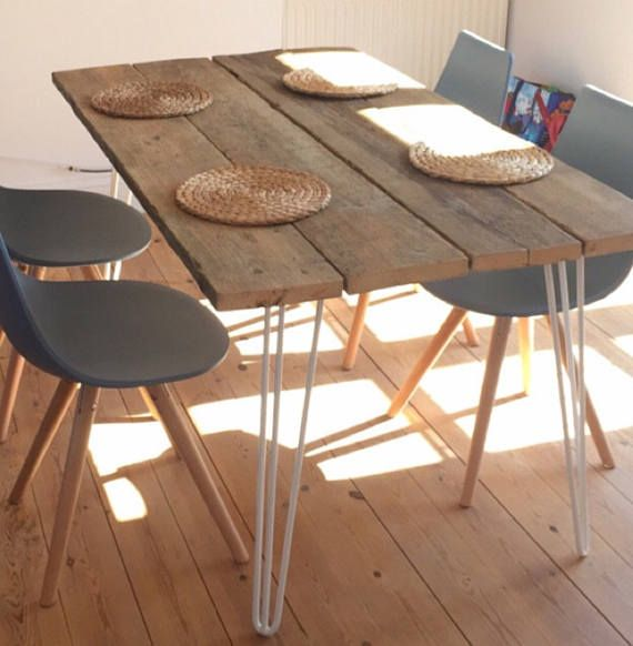 Wooden Dining Table Garden Table With Metal Hairpin Legs Etsy Dining Table In Kitchen Dining Table Timber Dining Table