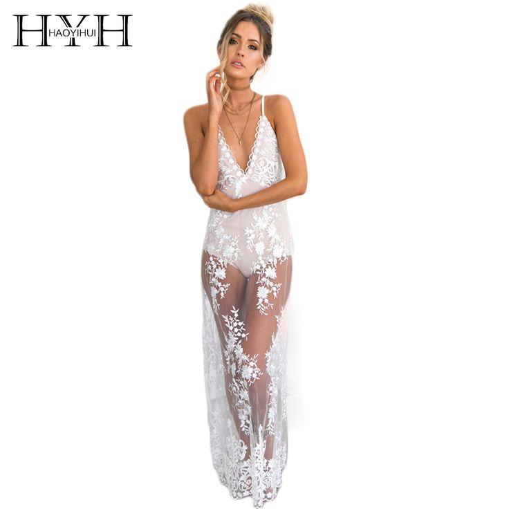 HYH HAOYIHUI Solid White Sheer Lace Dress V-Neck Contrast Backless Maxi Dress Sleeveless Spaghetti Strap Vestidos