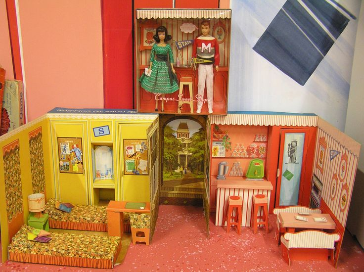 Barbie Goes to College Playset (1964) shown with the Midge and Allan Campus Sweet Shop reproduction gift set (top)