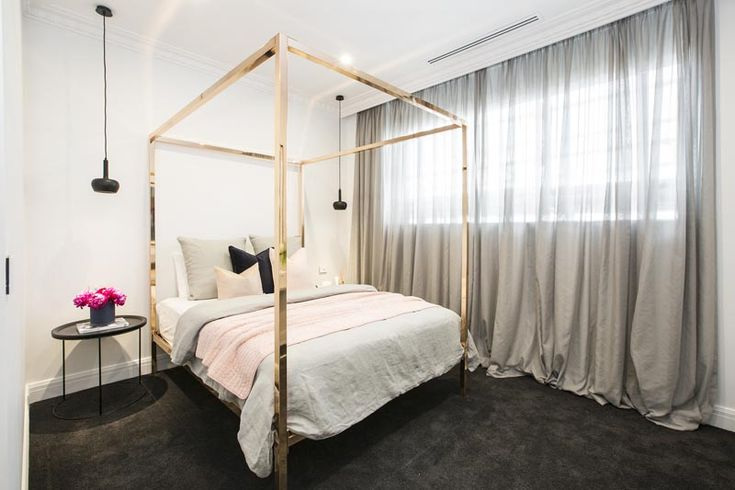 As used in Julia & Sasha's Second Guest Bedroom in The Block 2016. Incy interiors has collaborated with renowned interior stylist, Megan Morton to create this special collection. The familiar antiquelook of a four-poster bed has been given a modern makeover.