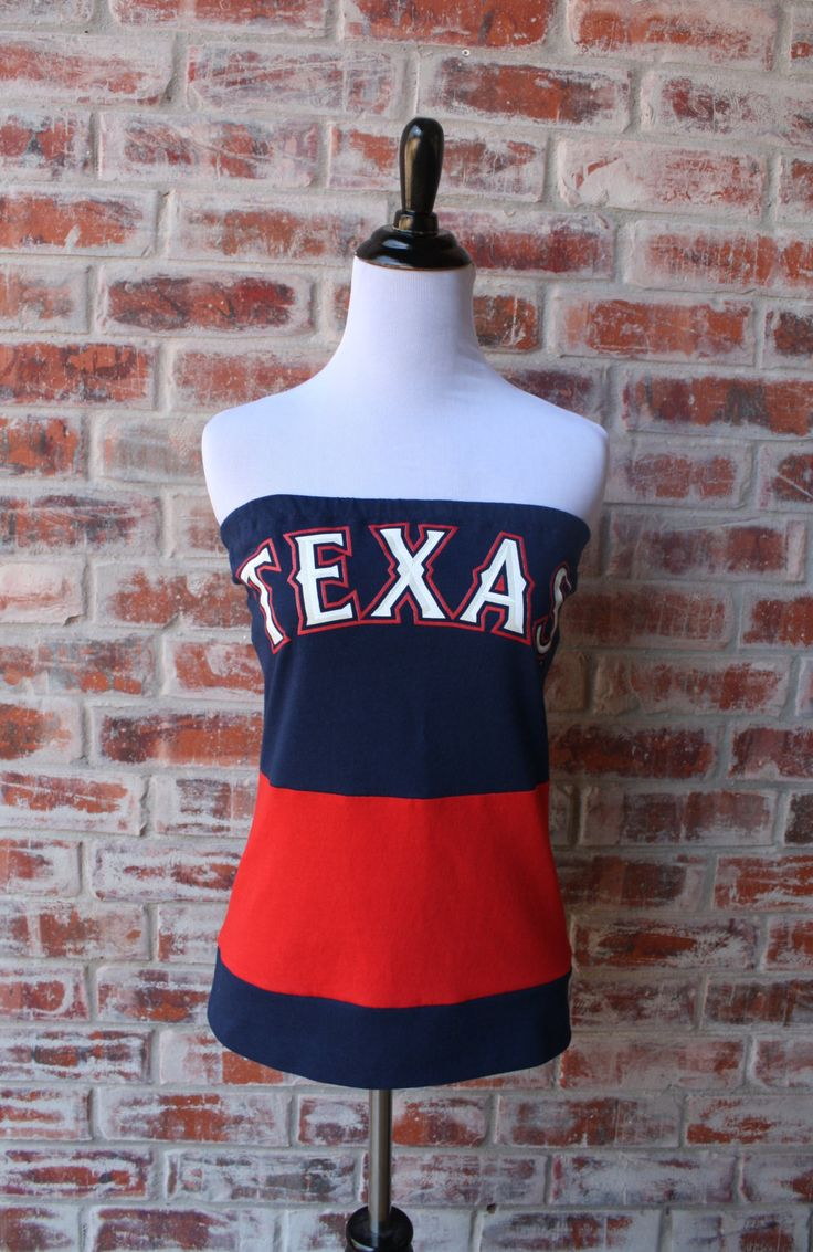 Texas Rangers Baseball Strapless Game Day Tube Top - Size Small by jillbenimble on Etsy