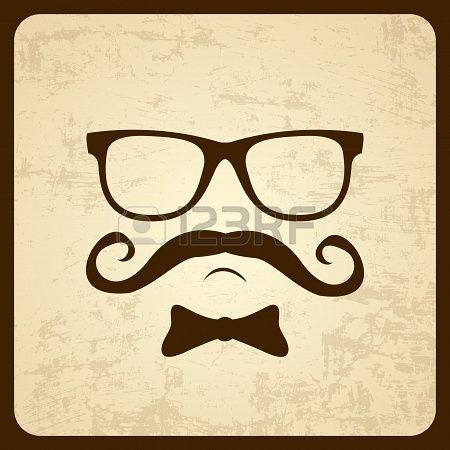 Vintage silhouette of mustaches  Vector illustration