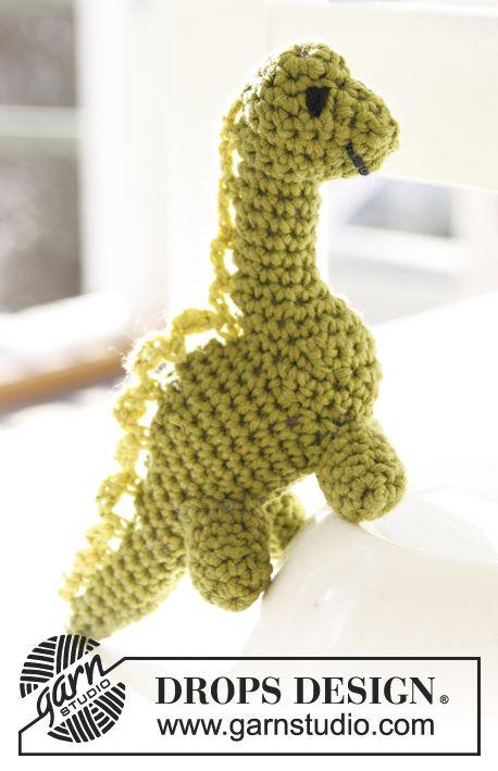 "Free pattern! Crochet DROPS dinosaur in ""Safran""."