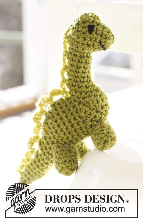 Free pattern! Crochet DROPS dinosaur in ?Safran?. Toys ...