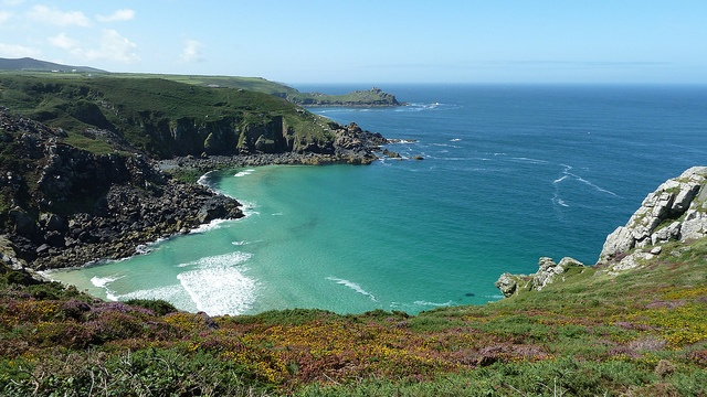 The South West Coast Path Pendour Cove  from Zennor Head Cornwall by woodytyke, via Flickr