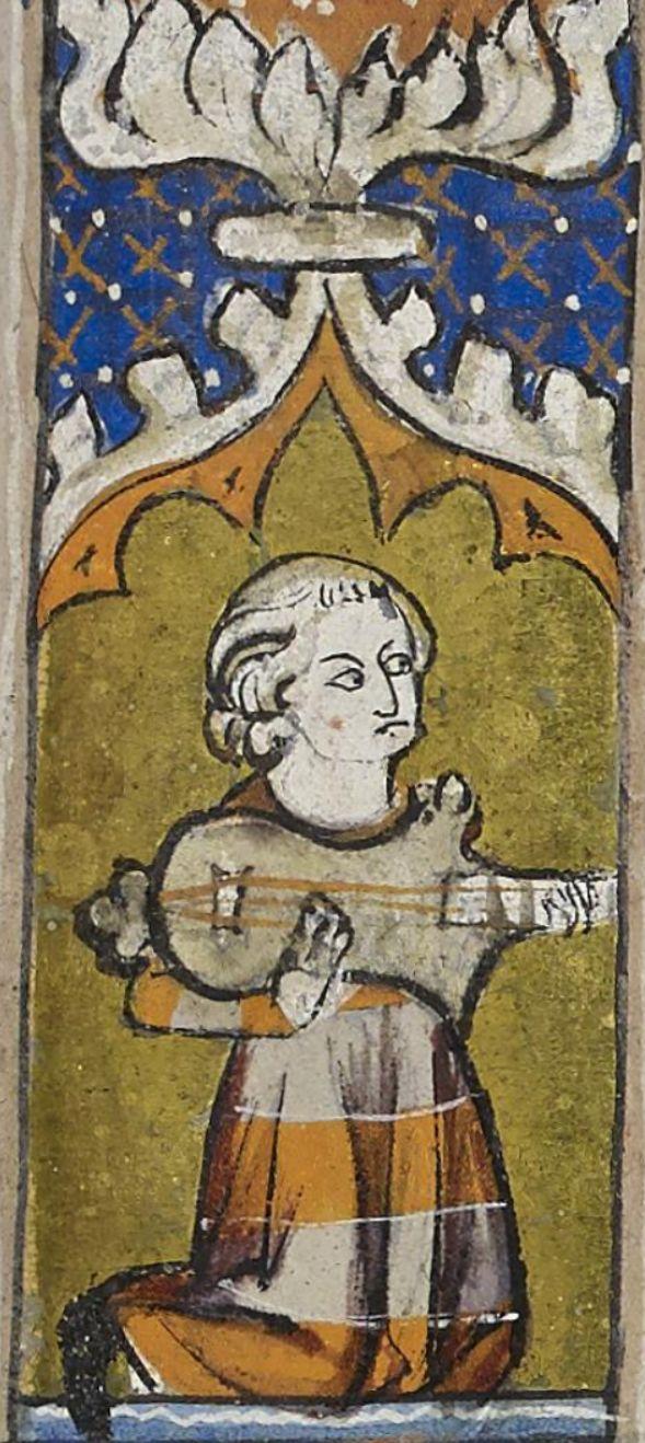 "Citole. From ""De Nobilitatibus, Sapientiis, et Prudentiis Regum"". Bodleian Library, MS 92, Folio/page: 43r Date: 1326 - 1327 http://digital.bodleian.ox.ac.uk/inquire/p/b59b7b81-674f-4bd0-9d29-a71d67a75da1"