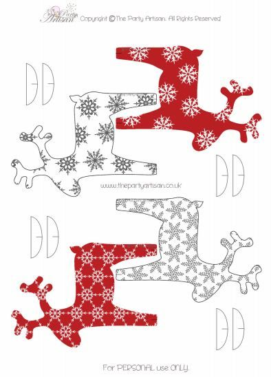 Renos imprimibles para decorar la Navidad  -  Printable Christmas reindeer to decorate