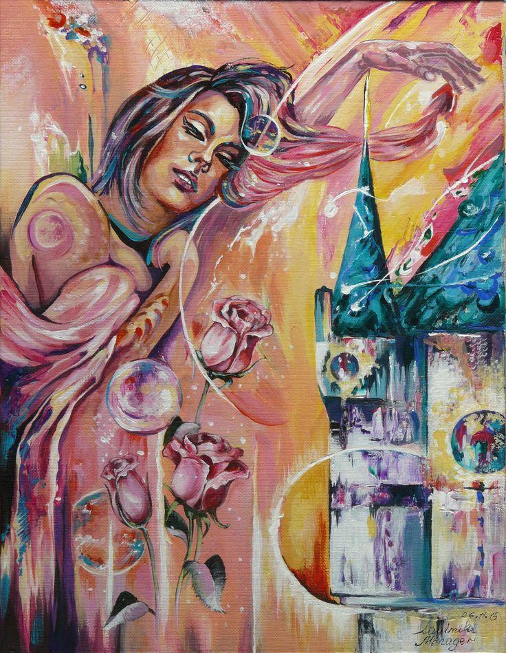Liudmila Ménager Сон об Азэ-ле-Ридо (Rêve d'Azay-le-Rideau)   акрил на холсте, 35 cm* 27 cm