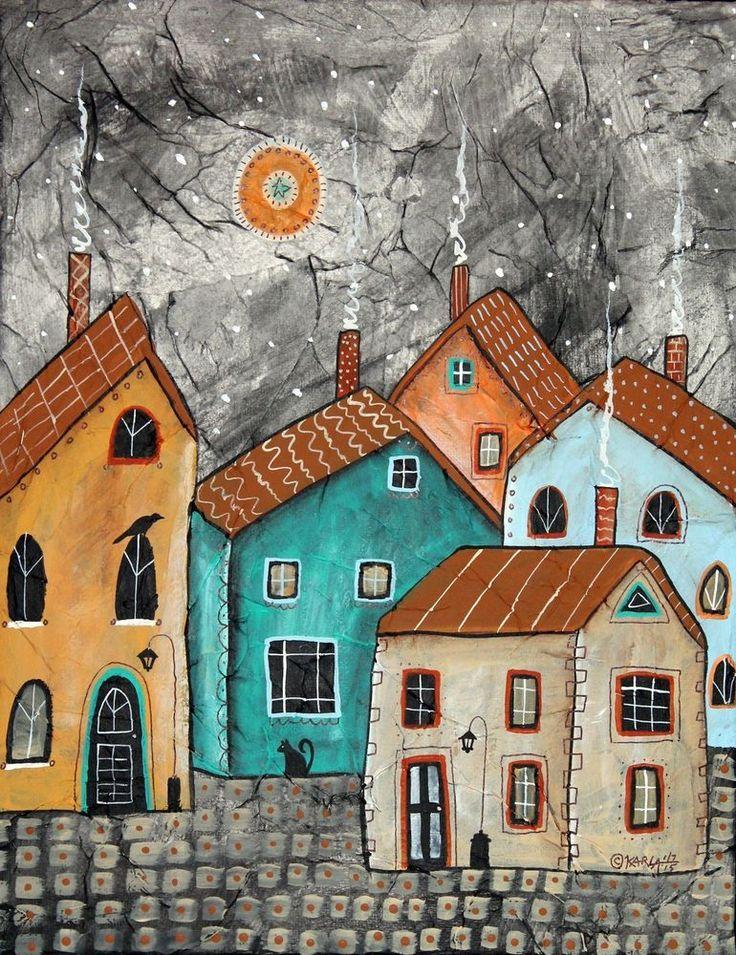 Evening Town 11 x 14 inch Mixed Media ORIGINAL CANVAS PAINTING Folk Art Karla Gerard ..
