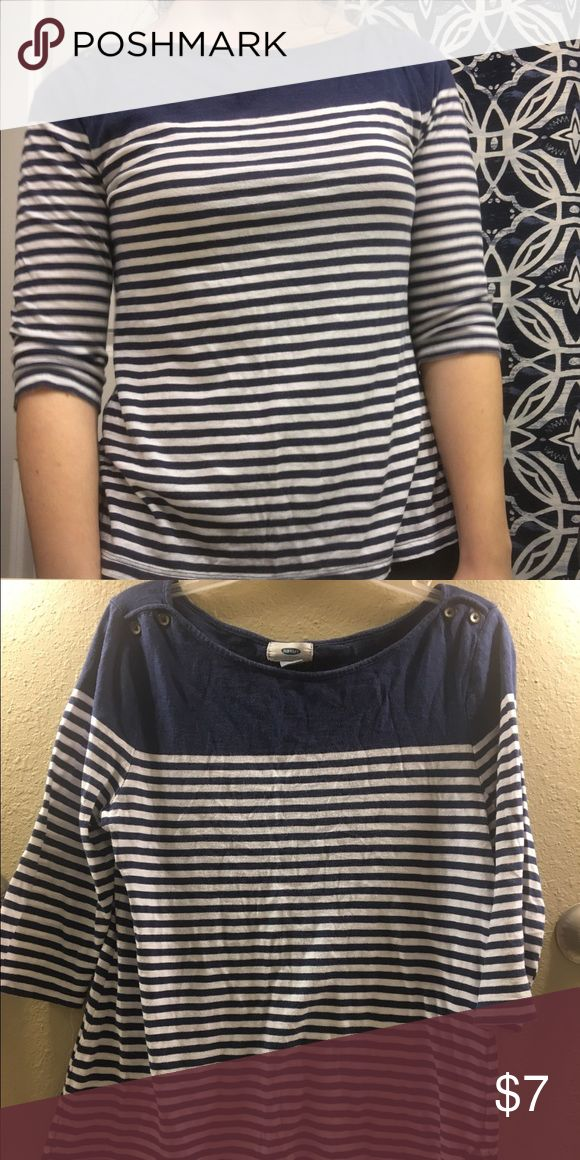 Blue and white striped Old Navy tee Great condition! Very cute style. Buttons on the shoulders. soft material. Old Navy Tops Tees - Short Sleeve