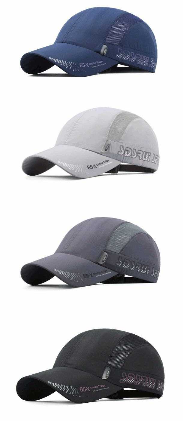 Mens Quick-dry Thin Breathable Snapback Flat Baseball Caps Adjustable Outdoor Visors Hats