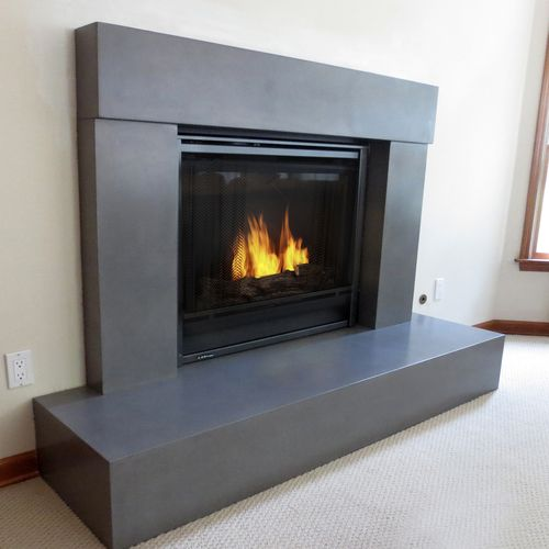 Beam Concrete Fireplace Surround