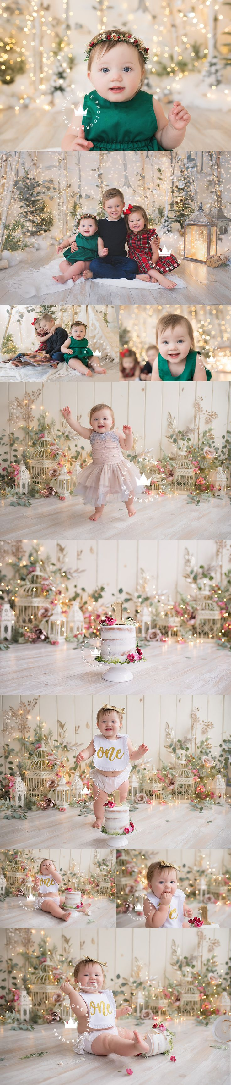 C's magical Holiday first birthday cakesmash session!   Heidi Hope Photography