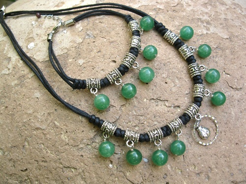 Aventurine lucky Ladybird necklace set - Double a friend's luck with lucky Aventurine and a silver lucky Ladybird charm in this jewellery-with-meaning set