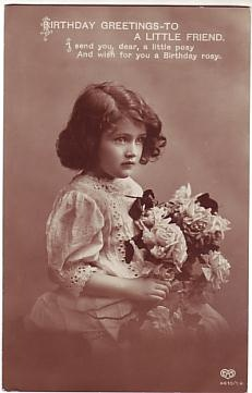 E A Schwerdtfeger Postcard - Birthday Greetings - To A Little Friend c1912