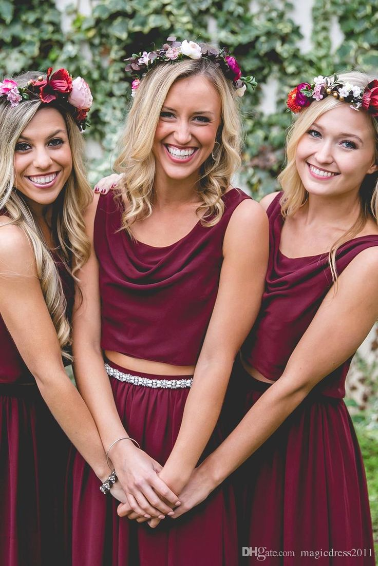 Best 25 sell bridesmaid dress ideas on pinterest beautiful two pieces country wedding boho bridesmaid dresses burgundy chiffon scoop 2016 cheap long party prom gowns plus size maid of honor dresses ombrellifo Images