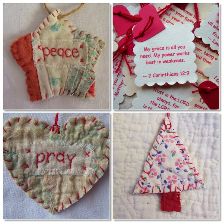 Perfect for any Christmas tree. I usually take a piece of a quilt, add a little batting and a button or bow. Add a special sentiment for the person you're giving it to. Maybe a special word or verse that means something special between the two of you. Love these!