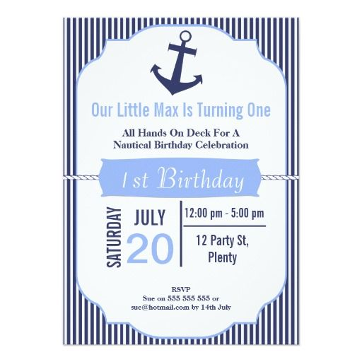 222 best birthday 1st b day invites images on pinterest invites boys 1st birthday nautical invitation filmwisefo Choice Image