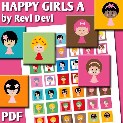 Happy Girls A 16037  Printable Squares 1 inch size  by BlessedShop