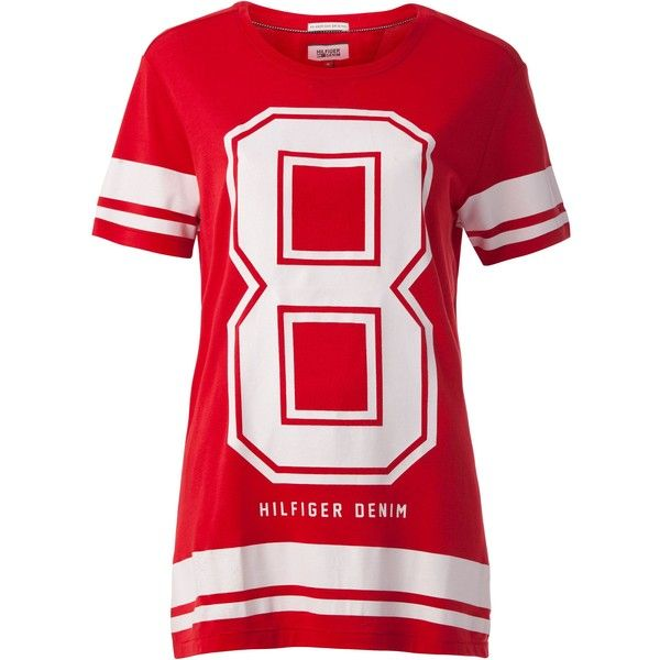 Tommy Hilfiger Fine Cotton T-shirt ($57) ❤ liked on Polyvore featuring tops, t-shirts, red, women, red top, crew-neck tee, tommy hilfiger t shirts, red jersey and red tee