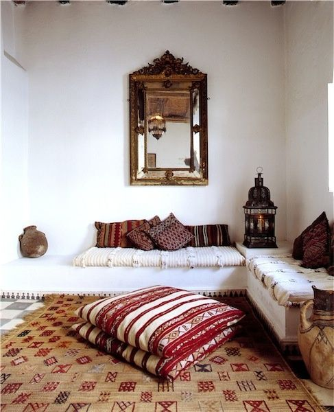 Moroccan alcove area; wonderful oversized floor pillows!