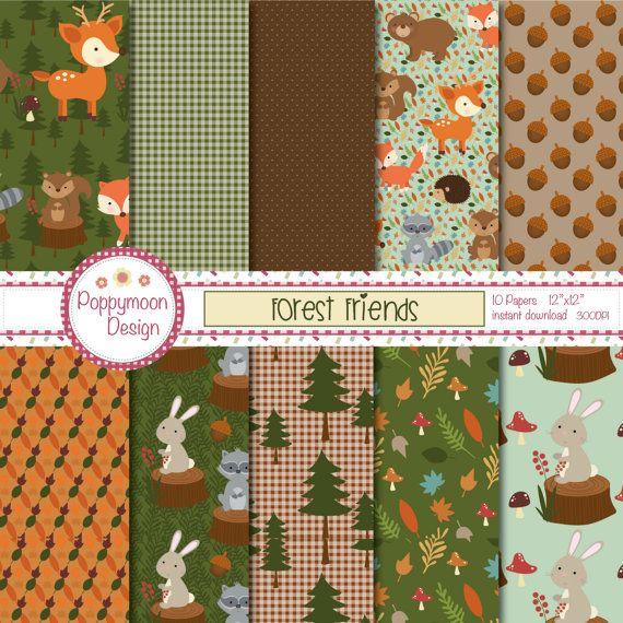 Forêt des amis, ours, écureuil, renard, bois, imprimable de papier numérique