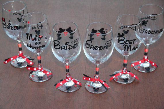 Disney Mickey and Minnie Wedding Wine Glass Set by GameDayCheers, $12.00