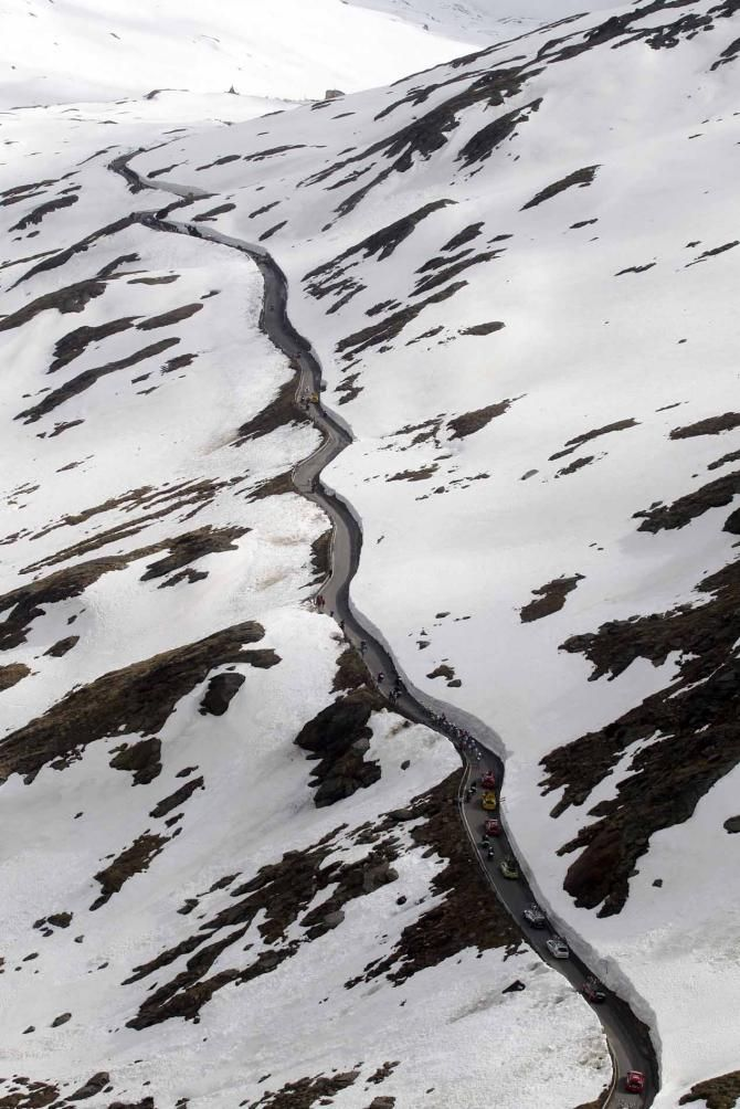 The Passo Gavia snakes through the snow