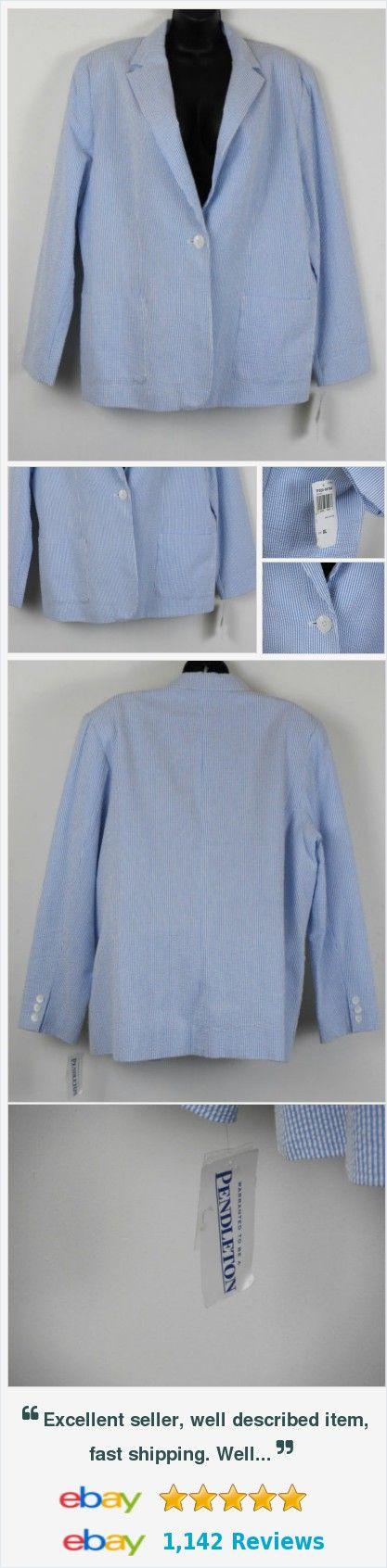 Pendleton Seersucker Blazer Womens Size XL Blue White New With Tags 100% Cotton http://www.ebay.com/itm/Pendleton-Seersucker-Blazer-Womens-Size-XL-Blue-White-New-With-Tags-100-Cotton-/272237023444?ssPageName=STRK:MESE:IT