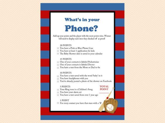 whats in your phone, Navy Red Baseball Baby Shower Game Printables, All Stars, baseball theme, Sports Baby Shower Games, Printable Baseball Games TLC08