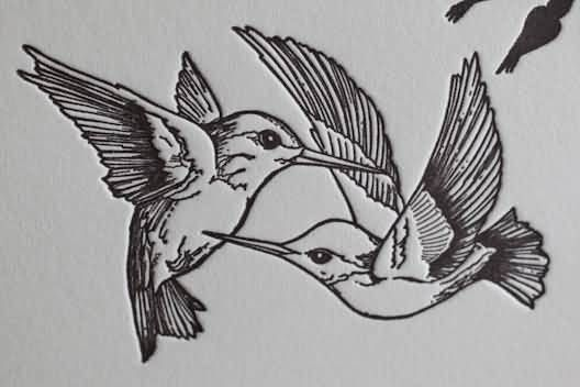 Black Outline Two Hummingbirds Tattoo Stencil