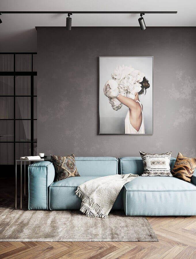 Zeitgenössisches Sofa für zeitgenössisches Wohnzimmer verziert mit gebrannter Zementwand
