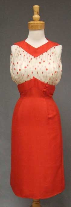 1960's dress from Oleg Cassini in red silk with ivory and red polka dotted silk chiffon. Joanie!!!