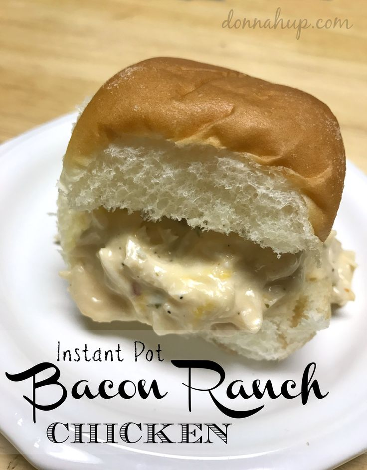 Instant Pot Bacon Ranch Chicken - I love love love my instant pot cooker and this was so easy to make. It took me less than 30 minutes and it was a hit. It also makes a great dip. via @donnahup