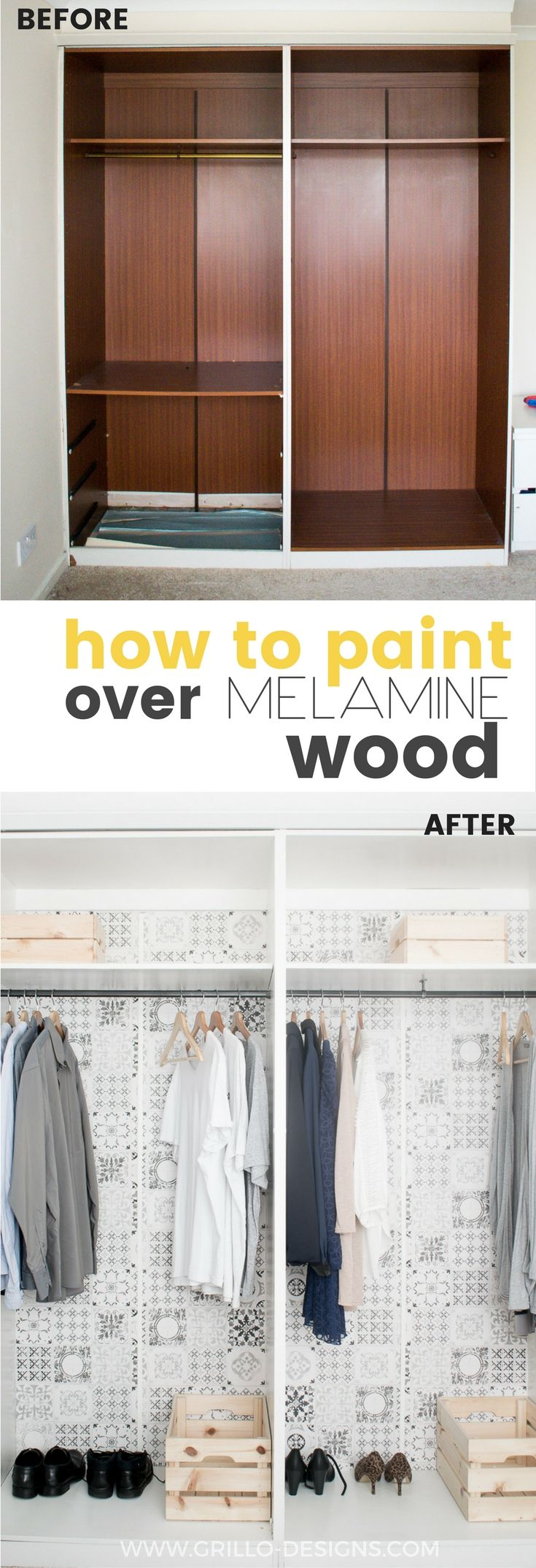 Learn how to paint melamine wood - and turn any outdated piece of furniture from drab to fab!  Melamine paint not necessary