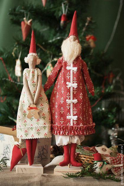 Новый год 2015 ручной работы. Ярмарка Мастеров - ручная работа Новогодняя парочка-Дед Мороз и Снегурочка Тильда. Handmade.